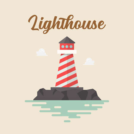 Lighthouse in flat style vector. Vector illustration