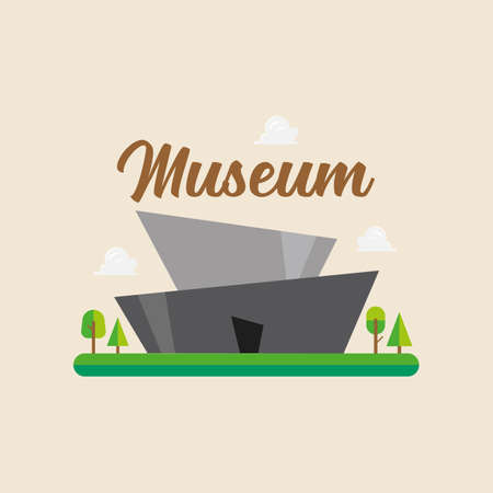 Museum building in flat style. Vector illustration