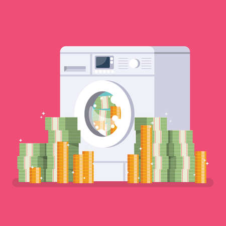 Washing machine laundering money. Business corruption concept. Vector illustration