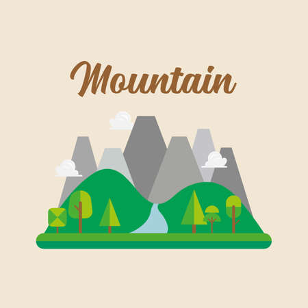 Forest and mountain landscape. Flat style design. Vector illustration