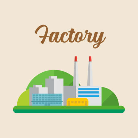 Factory industrial building. Retro style Vector illustration 向量圖像