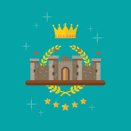 Crown and castle with monarch symbols. Symbol of victory and achievement. Vector illustration