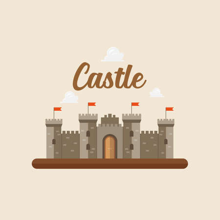 Castle in flat style design. Vector illustration