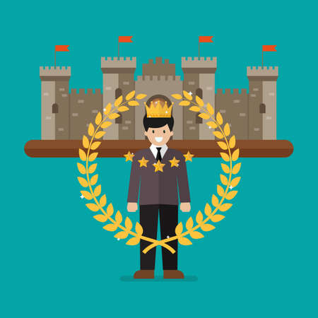 Businessman with golden wreath and castle on background. Vector illustration