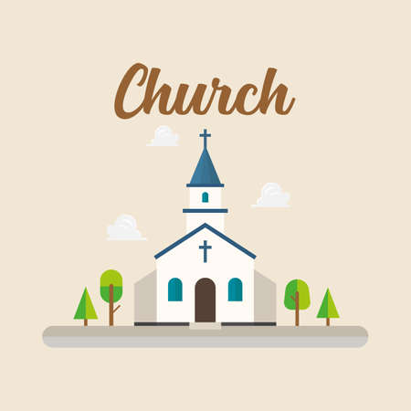 Church in flat style. Retro style. Vector illustration 向量圖像
