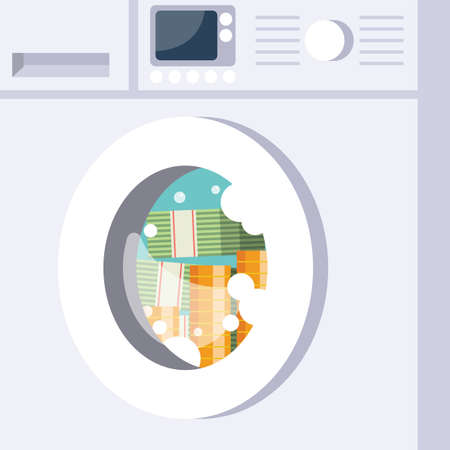 Laundering money by Washing machine. Business corruption concept. Vector illustration