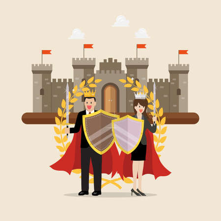 Man and woman holding shield sword with golden wreath and castle on background. Vector Illustration