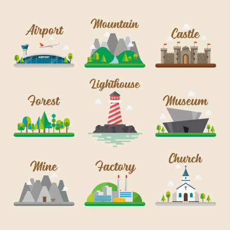 Buildings and landscape in flat style graphic design set. Vector illustration 向量圖像