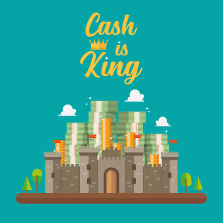 Cash is king text with pile of money in the castle. Vector illustration