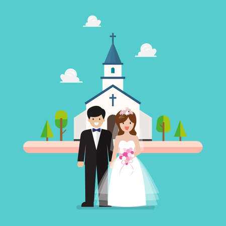 Wedding ceremony at church. Wedding couple are standing in front of church. Vector illustration 向量圖像