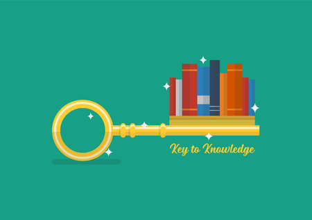 Key to knowledge concept. Books are part of the key. Vector illustration