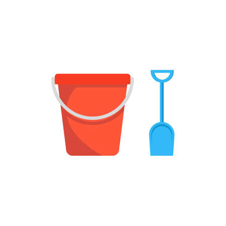 Beach toys pail and shovel. Vector illustration