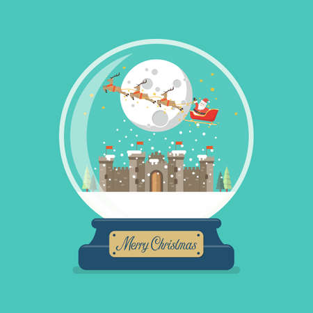 Merry christmas glass ball with Santa sleigh flying over castle. Vector illustration