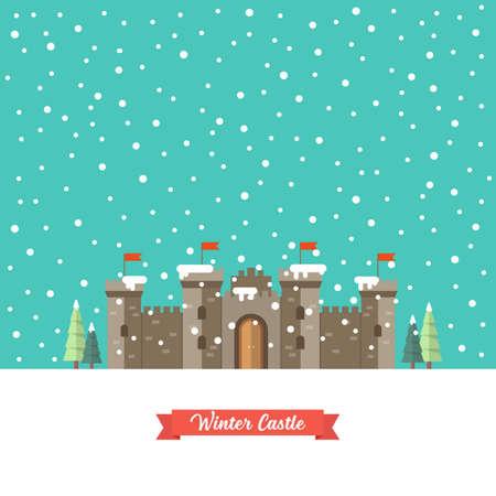 Castle in winter season. Vector illustration