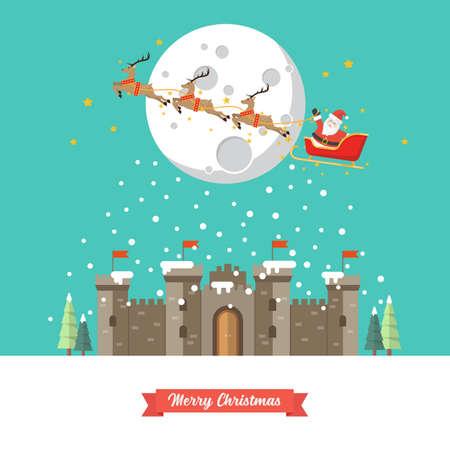 Santa sleigh flying over castle in winter season. Vector illustration
