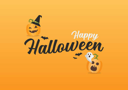 Happy Halloween vector lettering. Invitation or greeting cards. Vector illustration 向量圖像