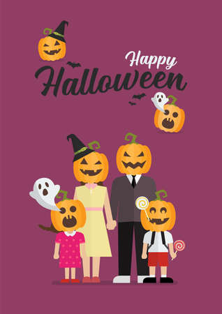 Happy Halloween Family with pumpkin head. Vector illustration 向量圖像