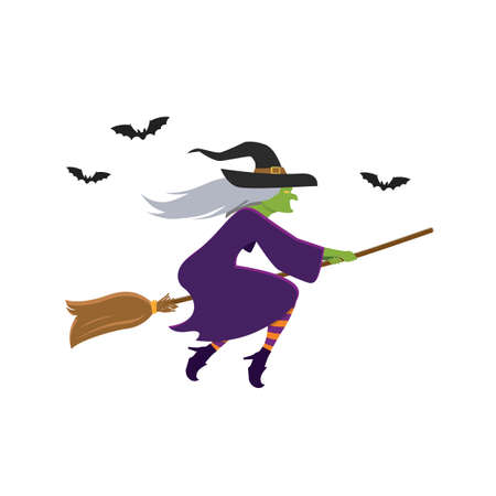 Witch flying on broomstick. Vector illustration 向量圖像