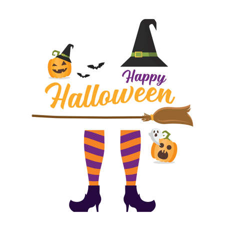 Witch legs Witch broom and hat. Halloween pumpkin and ghost. Vector illustration