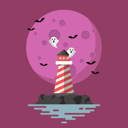 Haunted Lighthouse with moon on background. Vector illustration 向量圖像