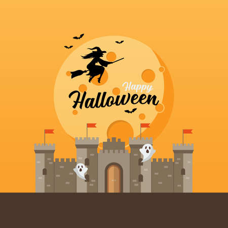 Castle with witch flying over the moon. Halloween greeting card. Vector illustration 向量圖像