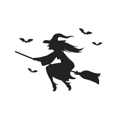 Witch flying on broomstick. Silhouette on white background . Vector illustration 向量圖像