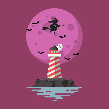 Lighthouse with witch flying over the moon. Vector illustration