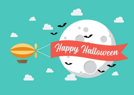 Airship pulls the banner with word HAPPY HALLOWEEN on it. Flat style design. Vector illustration