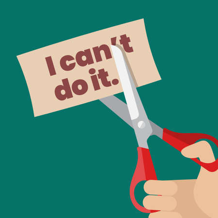 Hand using scissors to remove the word can't to read I can do it. Self belief concept. Vector illustration