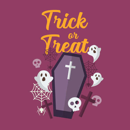 Trick or Treat with ghost and coffin. Halloween party greeting card. Vector illustration