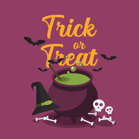 Witch cauldron with bubbling green potion. Halloween party greeting card. Vector illustration