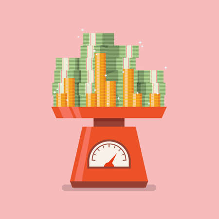 Pile of money on domestic weigh scales. Vector illustration 向量圖像