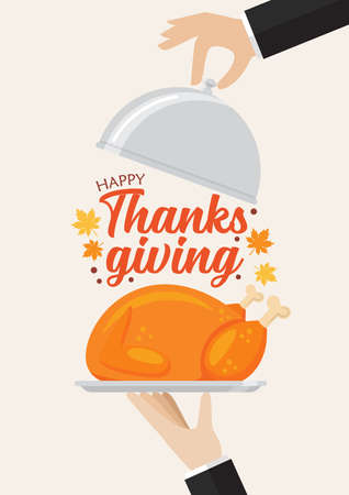 Waiter serving a turkey with Happy Thanksgiving lettering. Vector illustration for greeting cards