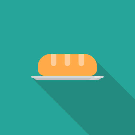 Bread flat icon wih long shadow. Vector illustration