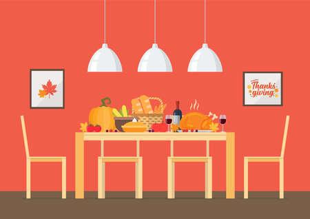 Thanksgiving day invitation with Interior dining room. Vector Illustration