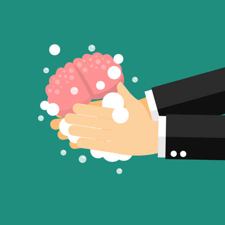 Businessman wash and cleaning the brain. vector illustration