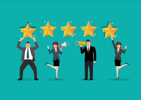 People are giving review rating and feedback. Feedback with satisfaction rating. Vector illustration