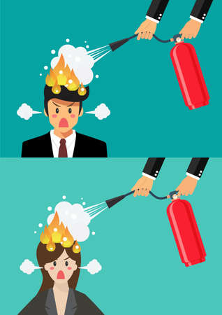 Angry businessman and woman with head on fire gets help from man with extinguisher. Vector illustration