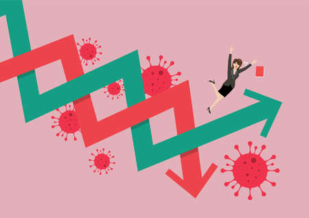 Business woman losing his balance on stock market fluctuation arrow. Graph up and Graph down concept. Vector illustration Çizim