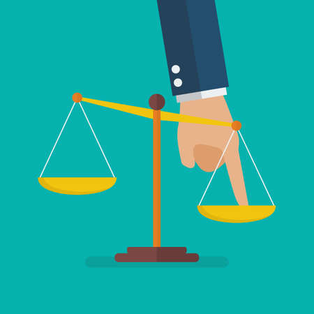 Hand pushing scale out of balance. Unequal Concept. Vector illustration Illustration