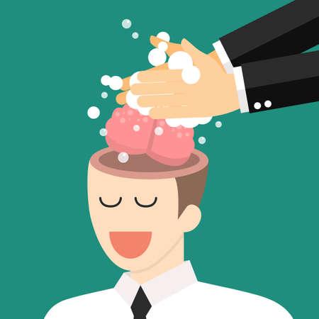 Hand washing enemy businessmans brain. Brainwashing concept. vector illustration Illustration