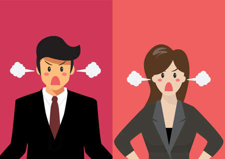 Angry business man and woman vector illustration. graphic cartoon Illustration