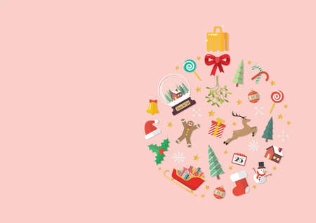 Christmas objects laid out in the shape of a Christmas ball. Vector illustration with copyspace