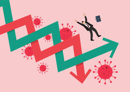 Businessman losing his balance on stock market graph due to COVID-19 pandemic. Vector illustration