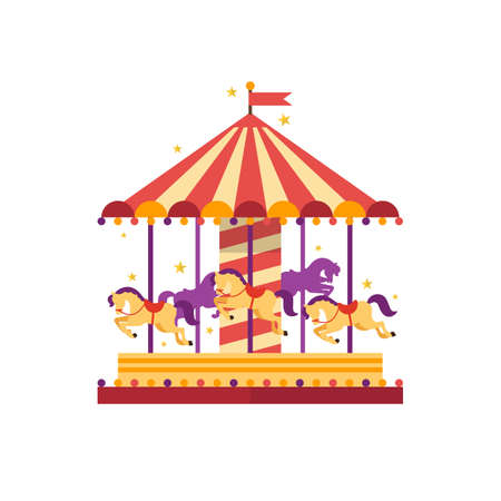Colorful carousel with horses. merry-go-round. funfair carnival vector illustration