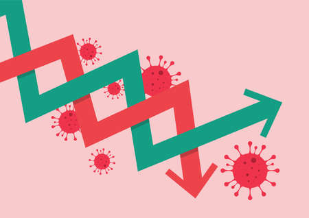 Stock market graph decrease due to COVID-19 pandemic. Vector illustration
