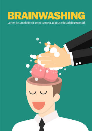 Hand wash and cleaning the businessman's brain. Business manipulation concept. vector illustration