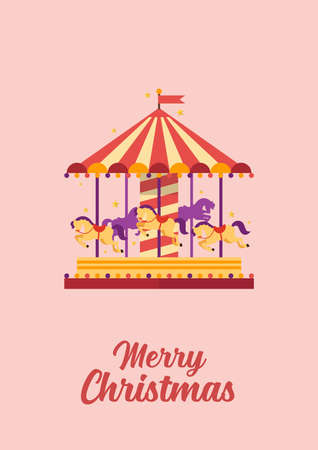 Merry Christmas greeting card Colorful carousel with horses. merry-go-round. funfair carnival vector illustration