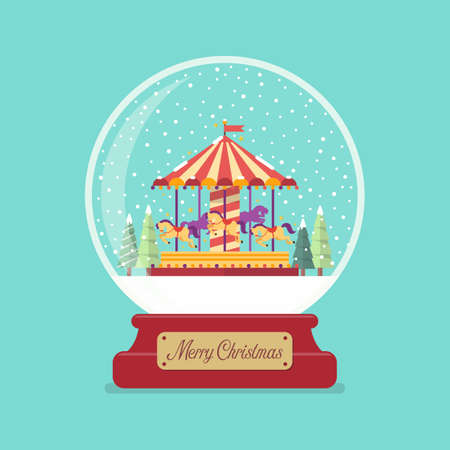 Merry christmas glass ball with church in winter season. Vector illustration