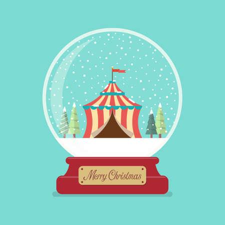 Circus tent in Merry christmas glass ball. winter season. Vector illustration